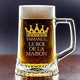 Cadeau Original pour Homme: chope de bière en Verre pour «Le Roi de la Maison». Personnalisée avec Le prénom, la Date d'anniversaire ou de la fête des pères