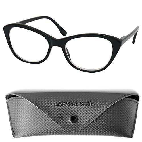 Cateye Blaulichtfilter Lesebrille mit GRATIS Brillenetui, Kunststoff Brillengestell mit Federscharnier (Schwarz), Anti Blaulicht Brille Damen +2.5 Dioptrien