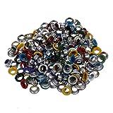 200 piezas Ojales/remaches redondos coloridos de metal Colores mezclados Diámetro exterior 9 mm, como se muestra