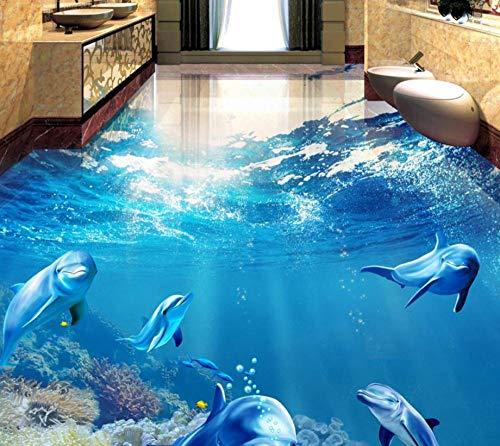 Baldosas 3d personalizadas piso moderno 3d peces tropicales delfines autoadhesivos papel tapiz impermeable para paredes 3 d-200 * 140 cm