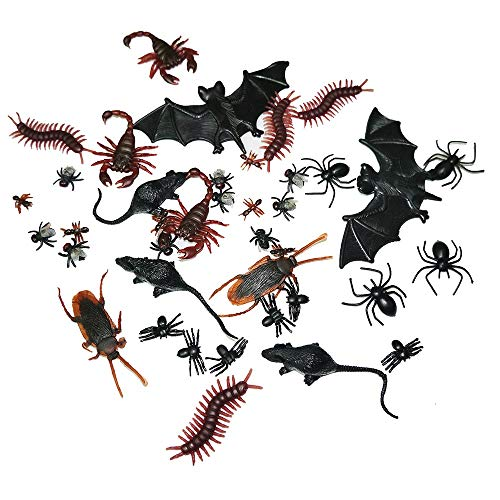 Adam Victor 40 Pieces Plastic Realistic Insects / Bugs - Fake Mice, Cockroaches, Spiders, Scorpions, Flies and Centioedes for Halloween Party Favors and Decoration