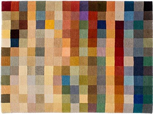 Lifetex.eu Teppich Multicolor Pixel ca. 120 x 165 cm Bunt handgeknüpft Schurwolle Modern hochwertiger Teppich