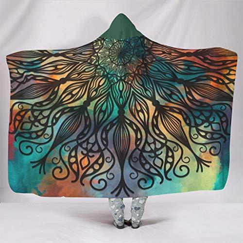 Magische bunte Mandala-Decke mit Kapuze, warm, weich, gemütlich, Überwurf, Decke, tragbar, Fleece-Hoodie, Decke für Kinder und Erwachsene, weiß, 127 x 152,4 cm