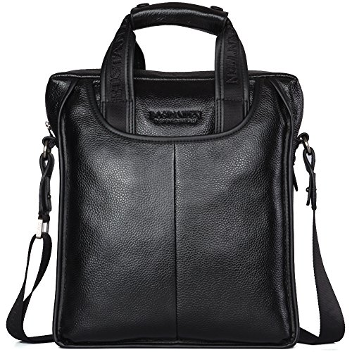 BOSTANTEN Leather Briefcase Handbag Laptop Business Messenger Bags for Men Black Medium