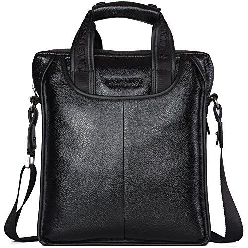 BOSTANTEN Leather Briefcase Handbag Laptop Business Messenger Bags for Men Black Medium