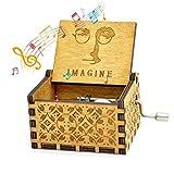 Womdee Boîte à Musique De Thème De Imagine, Boîte à Musique Classique en Bois Artisanat avec Manivelle, 18 Notes Mécanisme Antique Sculpté Boîte à Musique Cadeaux pour Enfants/Amis
