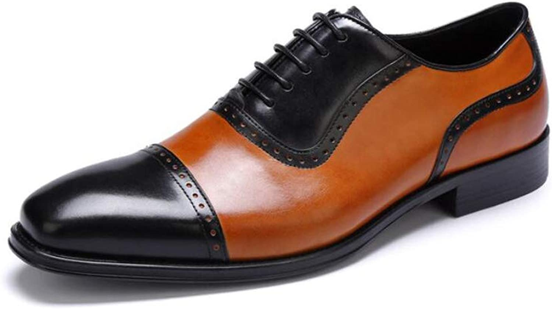 MKJYDM Men's Casual shoes Two-color Men's shoes Leather Wear-Resistant Fashion Wedding shoes Outdoor Non-Slip shoes Dress Business shoes 37-44 Yards Men's Leather shoes