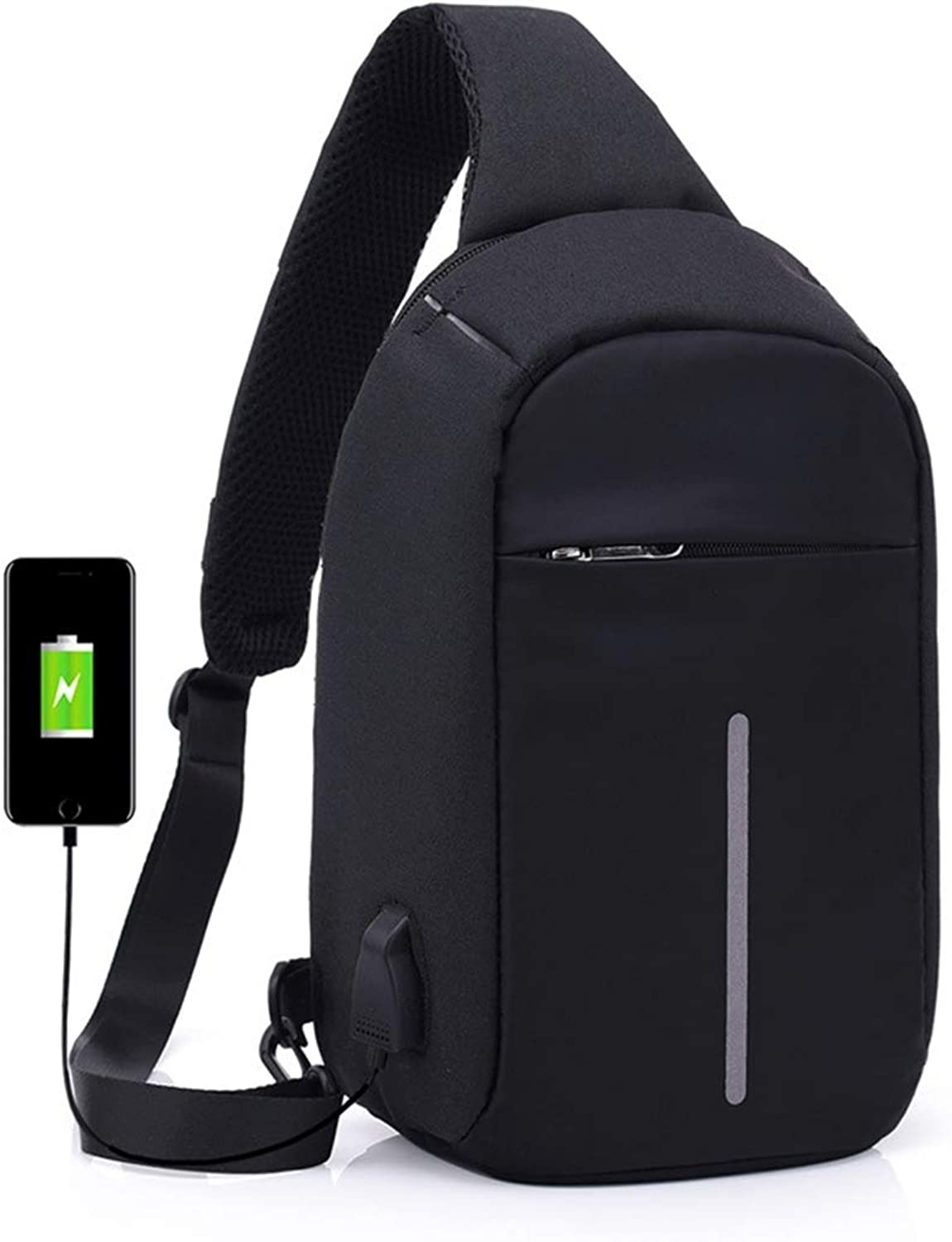 Professional Bag MultiFunction Portable Casual Chest Bag Outdoor Sports AntiTheft Shoulder Bag with External USB Charging Interface for Men Women Outdoor Travel Essentials (color   Black)