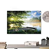 Glifporia Wall Art Print Home Decor House Decor,Fishing Pier by River in The Morning Light with Clouds and Trees Nature Image Decor,LGreen Blue White 36'x32' on Canvas Wall Decoration Wrapped