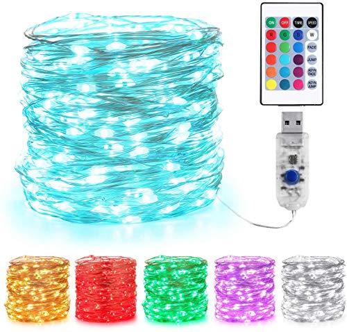10M 100 LED Bunt Lichterkette Innen, BrizLabs 16 Farben USB Kupferdraht Lichterketten 4 Modi RGB Dimmbar mit Fernbedienung & Timer Farbwechsel Wasserdicht für Zimmer Weihnachten Außen Party Deko