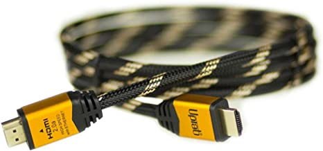 UPTab HDMI 2.0a Cable 6FT - UHD 4K@60Hz with HDR - Braided Cord - Ultra High Speed 18Gbps - Ethernet & Audio Return - Video 4K@60Hz 1080p 3D - Compatible with Xbox X, Playstation Pro, Apple TV 4K