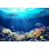 Leowefowa 3x2m Vinilo Submarino Telon de Fondo Panorama de Especies Marinas Pez Tropical Algas Marinas Tiburón Fondos para Fotografia Party Infantil Photo Studio Props Photo Booth