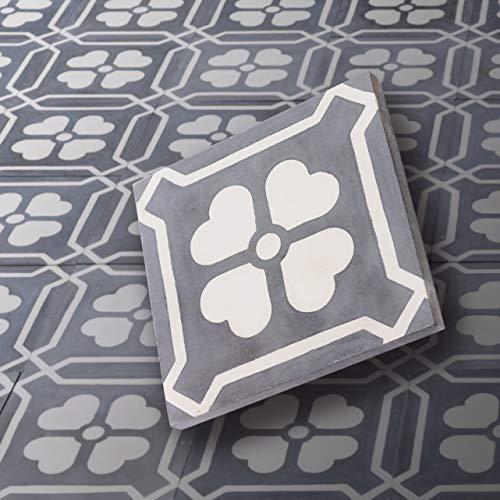 BodenMax CT202016CM305 Lote de 8 baldosas de cemento – Baldosas de cemento para pisos, mosaicos, revestimientos, paredes. Patrón floral. 20 x 20 cms.
