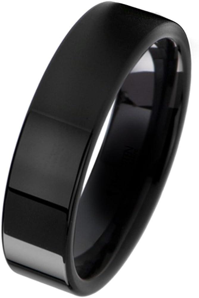 Gemini Plain Flat Comfort Fit Chicago Mall Wedding Ring Width Black Titanium Popular overseas