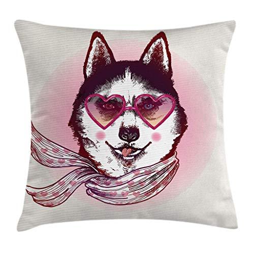 Cartoon Throw Pillow Kissenbezug, Hipster Husky Dog mit Herzen Sonnenbrille und Schal Mode Animal Art Print, 45X45 cm, Schwarze Creme