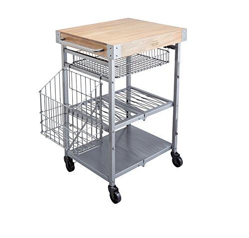 KitchenCraft Industrial KitchenZusammenklappbarer Küchenwagen mit Butcherblock-Arbeitsplatte, 80 x 51 x 90 cm (31.5 20 x 35.5 Zoll), Stahl, Grey, 51 x 83 x 91 cm