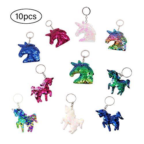 10 stuks eenhoorn-sleutelhangers, flip pailletten, eenhoorns, sleutelhangers, ter decoratie van sleutels, handtassen, party-favorieten/kinderen, meisjes, verjaardagscadeau, voor meisjes en kinderen