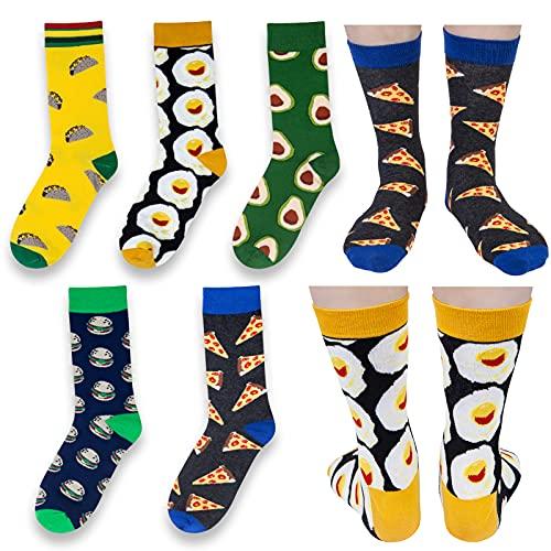 Chalier Herren Bunte Lustige Socken, Verrückte Socken Modische Mehrfarbig Klassisch als Geschenk, Neuheit Crew Socken (mix6)