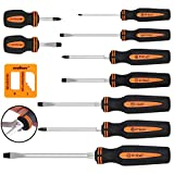 HORUSDY 10-Pieces Magnetic Screwdriver Set, 4 Phillips and 5 Flat Head Tips Screwdriver for Fastening and Loosening Seized Screws