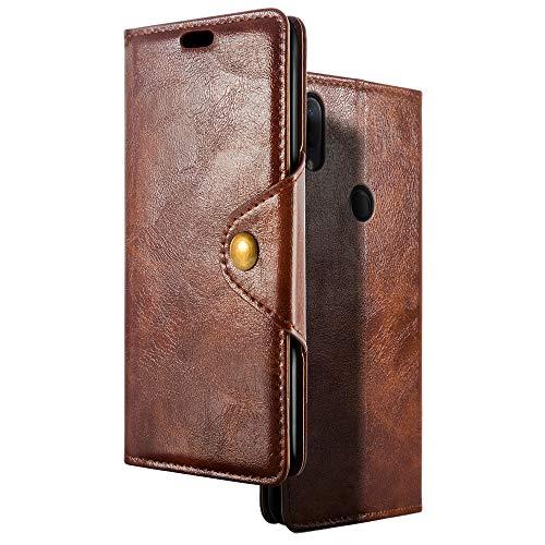 SLEO Hülle Kompatibel für Alcatel 3v Hülle, Retro PU Lederhülle Wallet Deckel mit Kartensteckplätze Tasche für Alcatel 3v 2019 - Kaffee