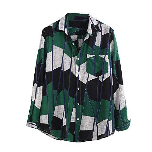Preisvergleich Produktbild NOBRAND Herren Hemd,  farblich passender Druck,  locker,  langärmlig,  einreihig,  großes Hemd für Herren Gr. XXXXX-Large,  grün