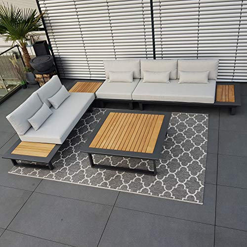 ICM Alu Gartenlounge Set Cannes Aluminium anthrazit Teak Gartenmöbel Loungegruppe Terrassenmöbel Outdoormöbel Loungeset Outdoorlounge Gartenmöbelset
