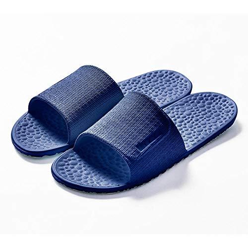 HUSHUI Zapatillas Baño de Estar por Casa Verano,Zapatillas Plegables portátiles, Zapatillas de baño Antideslizantes-Azul Marino_36-38,Masajes Playa Chanclas Sandalias