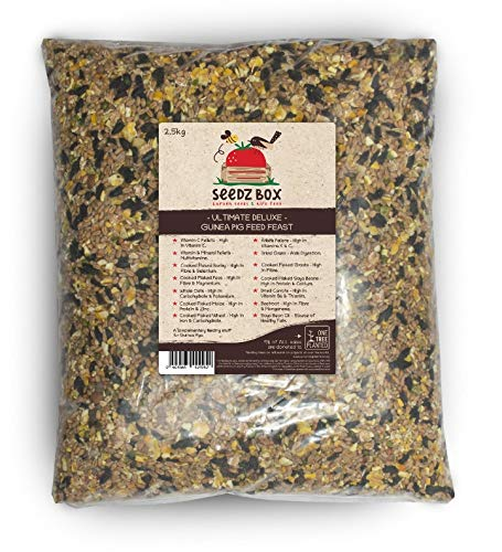 Seedzbox Mangime di Alta qualità per Porcellini d'India – Crocchette con Grano e Verdure -Multivitamine, Carote, Orzo ed Erba Medica- Alto Contenuto di Vitamina C, Proteine e Calcio – Sacco da 2.5kg