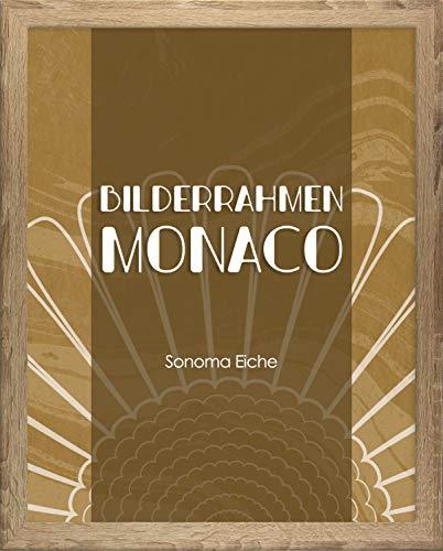 Homedeco-24 Monaco MDF Bilderrahmen ohne Rundungen 61 x 91 cm Größe wählbar 91 x 61 cm Sonoma Eiche mit Acrylglas klar 1 mm