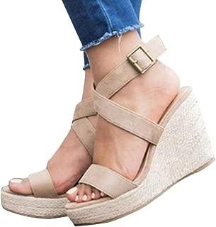 Womens Wedge Heel Sandals Espadrille Strappy Open Toe Platform Shoes