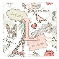 Caroline 's Treasures cj2002-lfc L文字Love in ParisピンクFoam Coasters ( Set of 4)、3.5インチ、マルチカラー