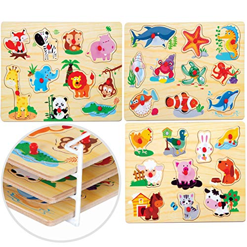 Wooden Toddler Puzzles for 1-3 Years Old – 3 Puzzles for Kids Ages 2-4 by Quokka – Babies' Wood Toys for Learning Numbers, Vehicles and Animals; Preschool Puzzles Age 2 3 4