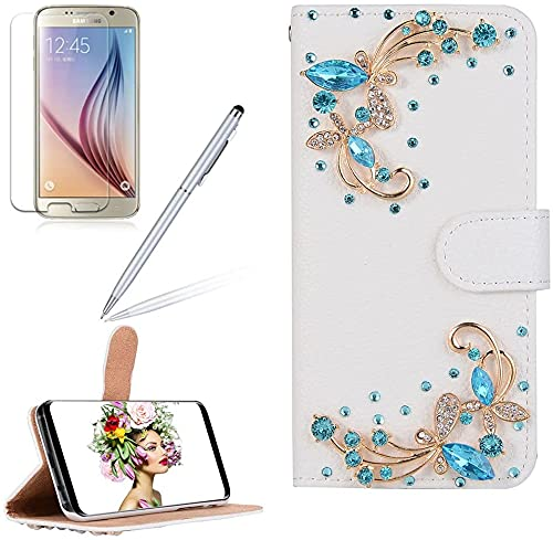 Diamond Wallet Case for Samsung Galaxy S21 Ultra 6.8 Inch, Girlyard Bling 3D Rhinestone PU Leather Flip Cover with Card Holder Wrist Strap Magnetic Kickstand Phone Case - Blue Dragonfly, White #4