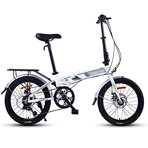 Gq2019 Folding Mountain Bike,Adults Women Light Weight Foldable Bicycle,20 Inch 7 Speed Mini Bikes,Commuter Bike,Aluminum Frame (Color : White)