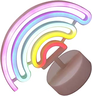 KESYOO Rainbow Night Light LED Rainbow Neon Signs with Lamp Base Rainbow Table Lamp Bedside Nursery Lamp for Gifts Kids Ro...