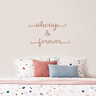 IARTTOP Always&Forever Quote Vinyl Inspirational Lettering Wall Decal, Motivational Sticker Love Home Anniversary Wedding Wall Decor,Brown Gold