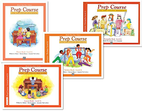 Alfred's Basic Piano Prep Course Level A Books Set (4 Books) - Lesson A, Theory A, Technic A, Notespeller A