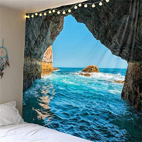 suhang Islas Cueva Naturaleza Paisaje Tapiz Mar Alfombra Playa Dormitorio Decoración del Hogar Colgar Tapices De Pared Manta De Viaje Mantel