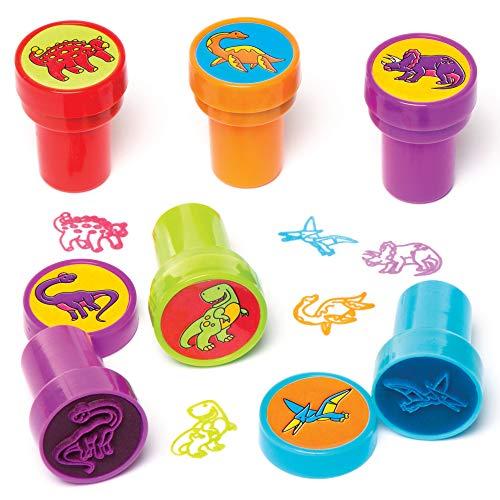 Baker Ross Estampadores Autoadhesivos de Dinosaurio para Manualidades Juguetes Novedosos para Niños, Fiesta Perfecta, Botín o Bolsa de Premios (Paquete de 10), 20 mm