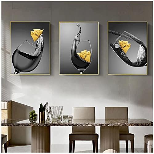 Lienzo decorativo para pared, 50 x 70 cm, 3 piezas sin marco de copa de vino con barco pequeño, lienzo impreso, para comedor, pared, 50 x 70 cm, sin marco