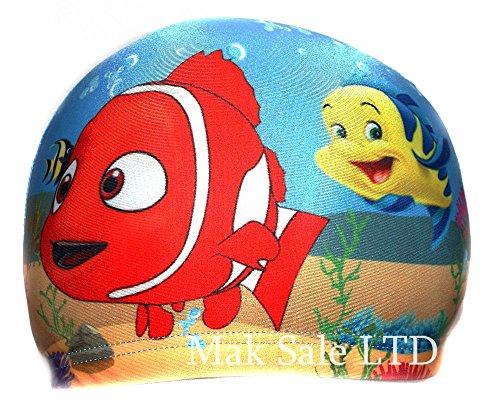 Cuffia da piscina in tessuto per bambini, dai 2 ai 10 anni, motivo: cartone animato Nemo