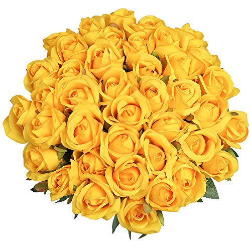 Veryhome 10 Piezas Artificial Seda Rosa Flores Falsas Ramos de Flores para La Decoración de La Boda Home Birthday Party Arrangment Jardín Decoración (Blanco, Rosas florecientes)