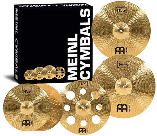 Meinl Cymbals HCS Expanded Becken Set Box Pack mit 14 Zoll Hihats, 16 Zoll Trash Crash, 18 Zoll Crash and 20 Zoll Ride Becken für Schlagzeug – Messing, traditionelles Finish (HCS14161820)