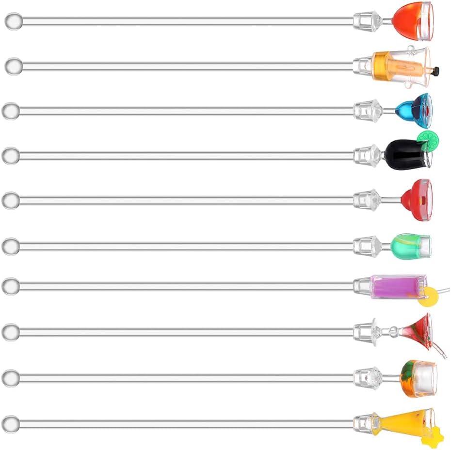 Hemoton 10Pcs Acrylic Cocktail Stirring Bar Popular standard Stick Sales of SALE items from new works Swizzle Sticks
