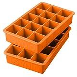 Tovolo - Set di 2 vassoi per cubetti di ghiaccio in silicone, colore: Arancione