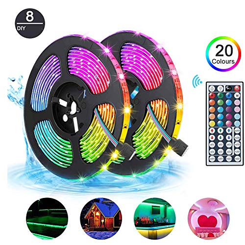 HONGLONG LED Strips Lights 10m Waterproof, RGB 5050 LEDs Colour Changing Kit with 44key Remote Control 5A Power Supply, Mood Lighting LED Tape Lights for Home Kitchen