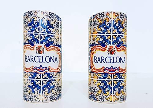 MR Juego de Salero y Pimentero en cerámica, diseño Azulejos Barcelona, Souvenir