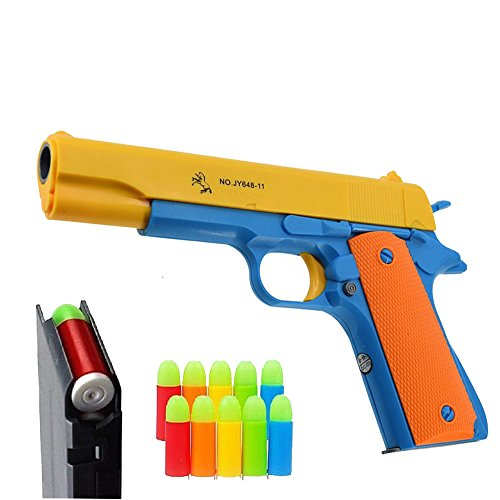 Pinovk Classic Colt 1911 Toy Gun with Soft Bullets Ejecting Magazine and Pull Back Action 1:1 Replica of an M1911A1 Colt 45 and 5 Extra Bullets