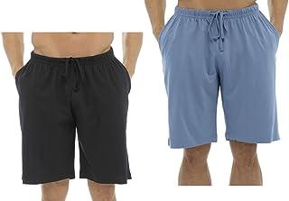 Tom Franks Mens Boys Gents Plain 2 Pack Lounge Shorts Pyjama Shortie Bottoms Red Black Blue Grey M-XL