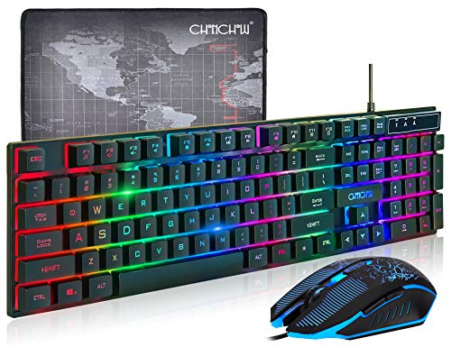 (Upgrade Version) CHONCHOW LED Backlit Gaming Keyboard and Mouse Combo USB Wired Rainbow Gaming Keyboard Mechanical Feeling for PS4 PC Windows Mac,Black